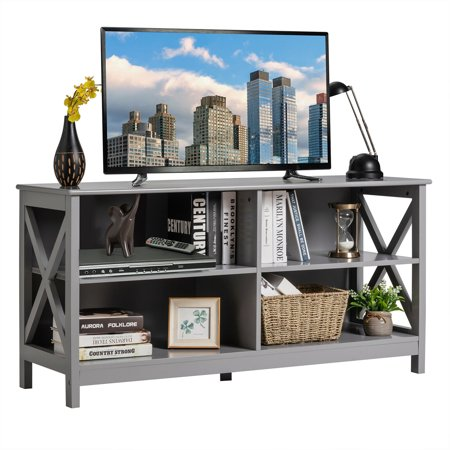 Gymax TV Stand Entertainment Media Center for TV's up to 55'' w/ Storage Shelves Gray - image 1 of 10