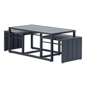 Superb Mainstays Neste Ridge 5 Piece Patio Sectional Set With Gray Cushions Machost Co Dining Chair Design Ideas Machostcouk