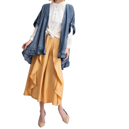 Ruffle Top Denim (Easel Women's Washed Denim Cardigan with Ruffled Detailing-Denim-medium )