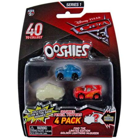 Disney / Pixar Ooshies Series 1 McQueen, Translucent Sally & Glow in the Dark Sheriff 4-Pack