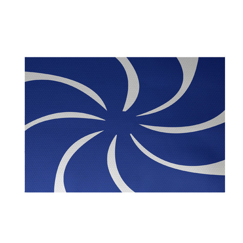 e by design Whirl of the Season Decorative Holiday Abstract Print Royal Blue Indoor/Outdoor Area Rug