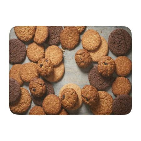 GODPOK Brown Above Pile of Various Shortbread and Oat Cookies with Cereals and Raisin on Grey Wooden Top View Rug Doormat Bath Mat 23.6x15.7 inch - Above Door Decor