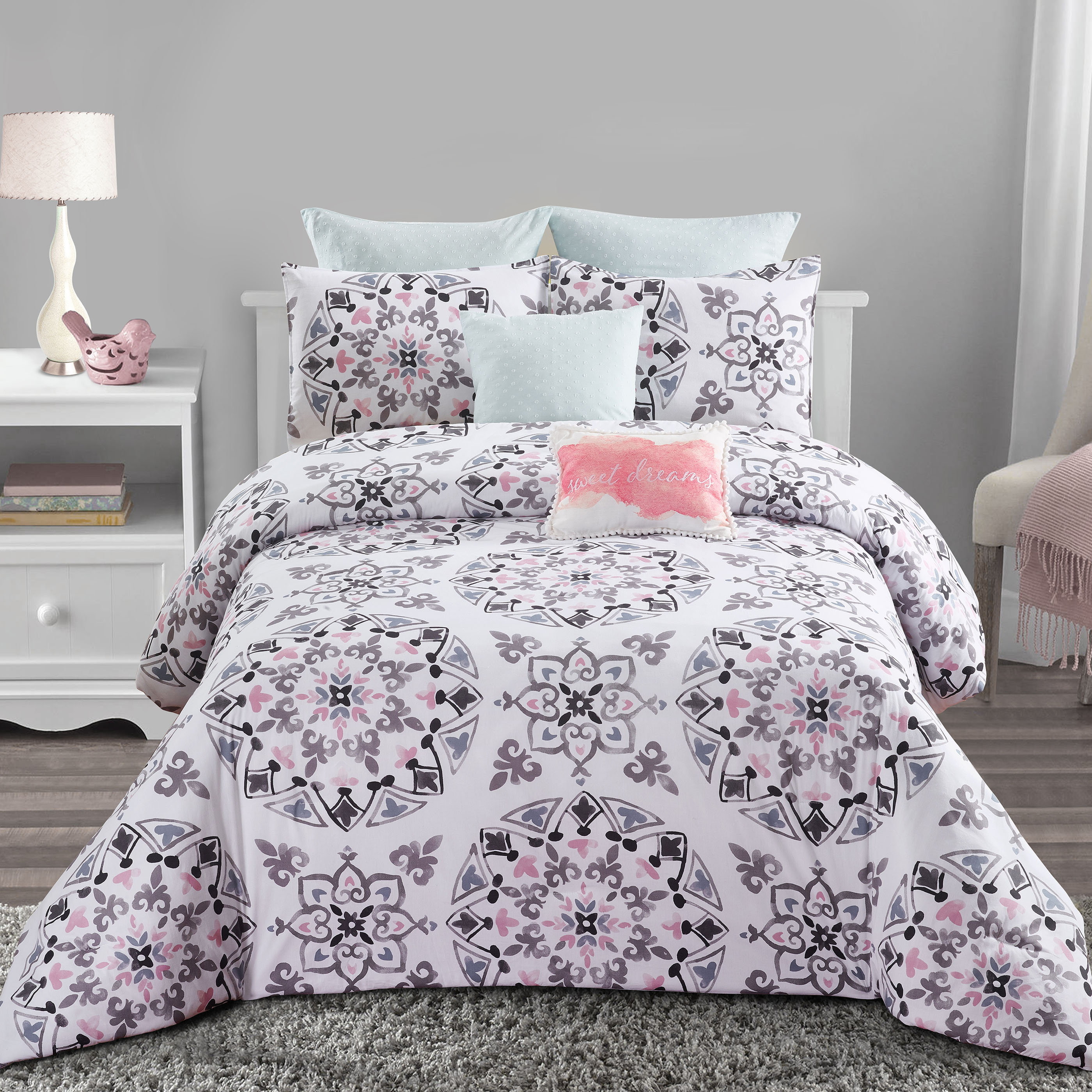 Callie Medallion 7pc Comforter Set Black Gray And Pink