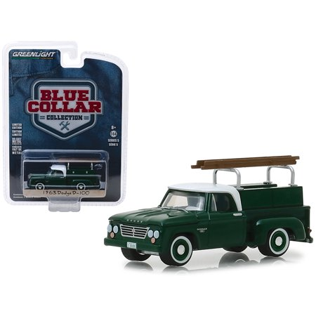 1963 Dodge D-100 Pickup Truck w/Ladder Rack Green w/White Top