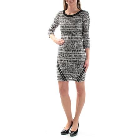 TRIXXI Womens Black Sweater 3/4 Sleeve Jewel Neck Above The Knee Sheath Dress Juniors  Size: -