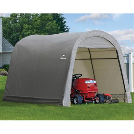 10x10x8 ft. - 3x3x2 4 m Round Style Storage Shed   Grey Cover
