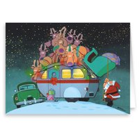 Camper and Santa Christmas Card - 18 Cards & Envelopes