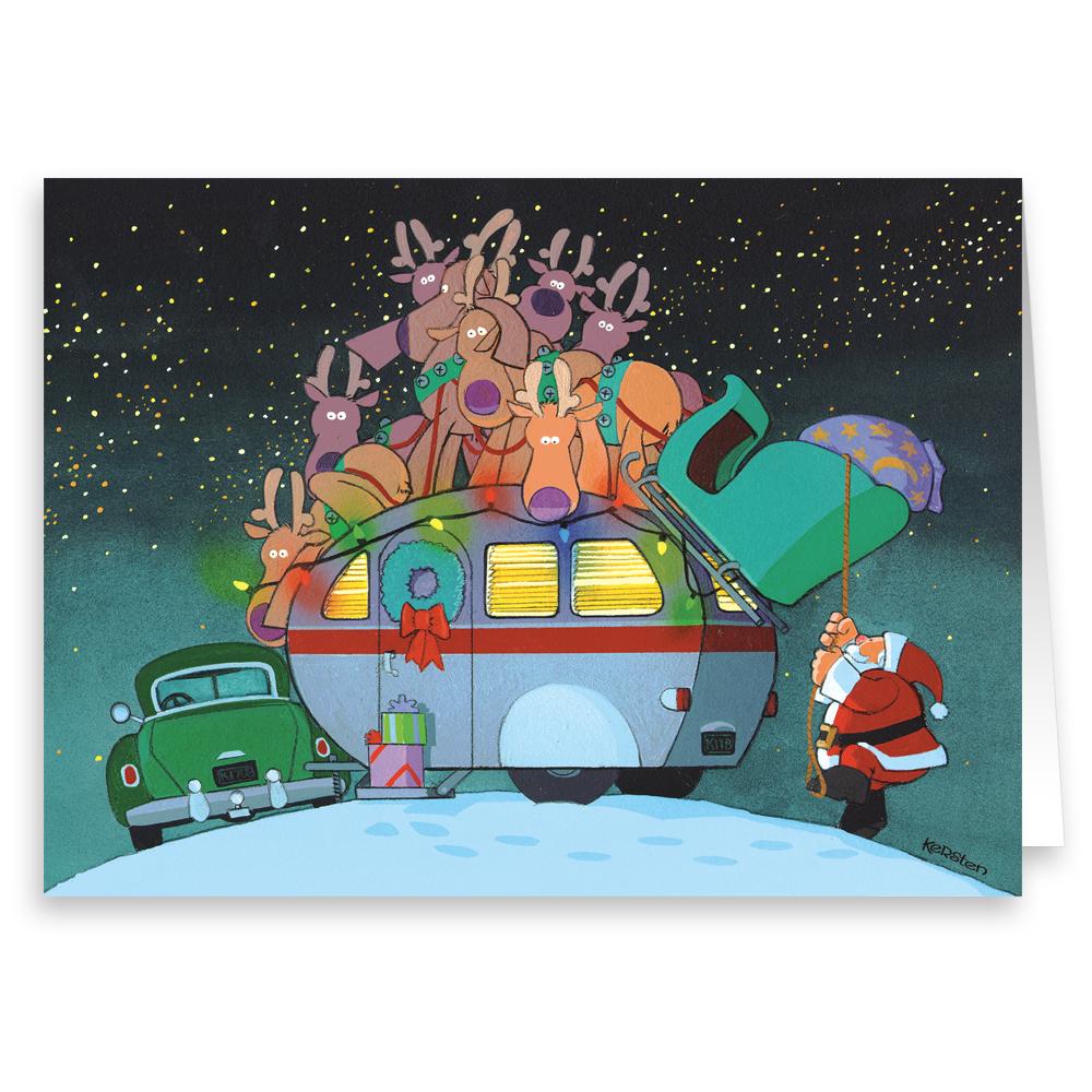 Camper and Santa Christmas Card - 18 Cards & Envelopes