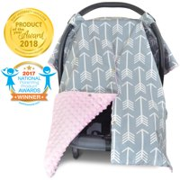 Kids N' Such 2 in 1 Car Seat Canopy Cover with Peekaboo Opening - Large Arrow Carseat Cover with Navy Dot Minky | Best for Baby Girls and Boys | Doubles as a Nursing Cover for Breastfeeding
