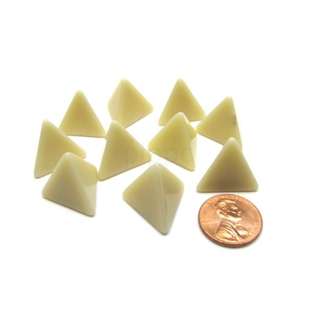 Opaque Polyhedral Bag Of 10 Blank Ivory 18mm D4 Chessex Dice