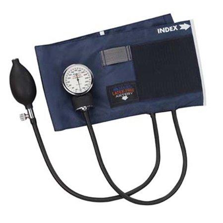 Precision Latex Free Aneroid Sphygmomanometer - Blue Nylon Cuff - Large Adult