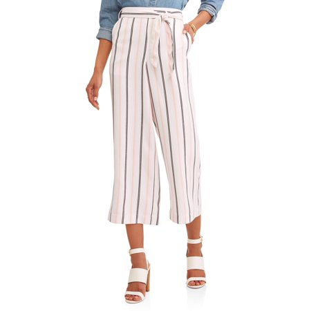 Women's Cropped Wide Leg Pant with Stripe Detail