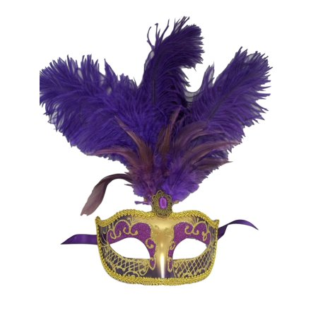 Mardi Gras Masks For Men (Purple Gold Feather Venetian Mask Masquerade Mardi Gras Jewel Gem Mask)