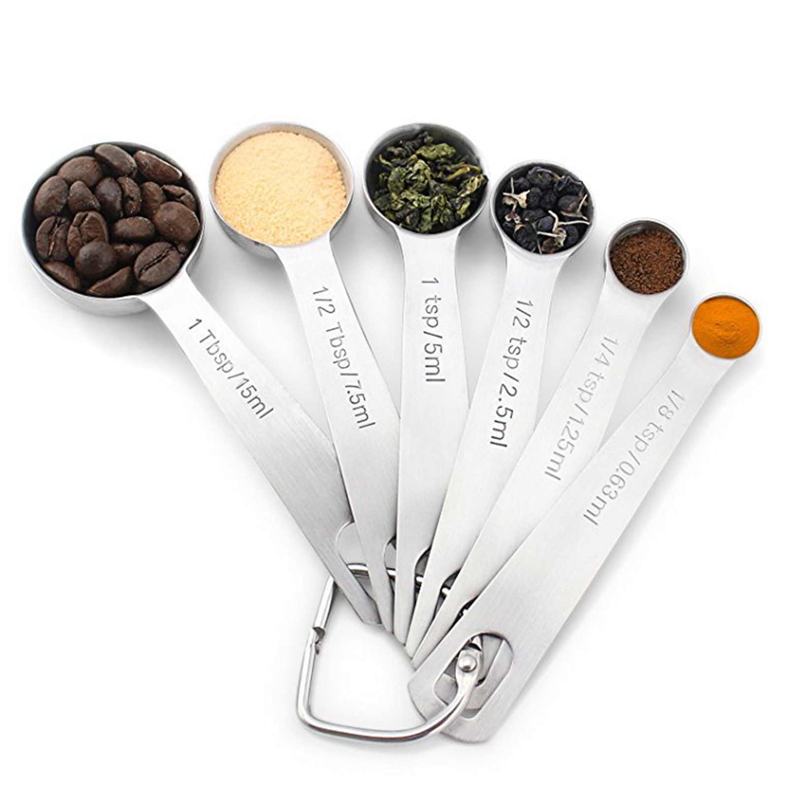 18 8 Stainless Steel Measuring Spoons, Set of 6 for Measuring Dry and Liquid Ingredients by Generic