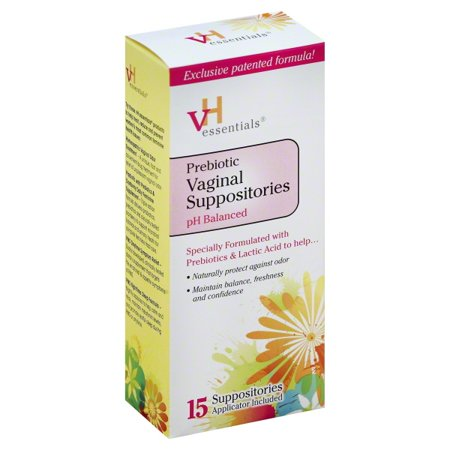 vH Essentials pH Balanced Prebiotic Vaginal Suppositories, 15 count