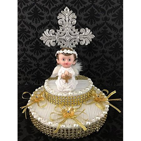 Religious Communion Christening Angel with Silver Cross Cake Topper Centerpiece Keepsake - Cross Centerpieces