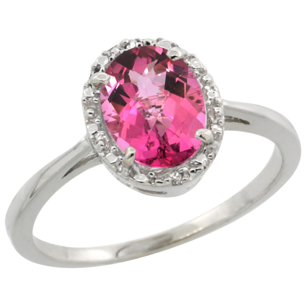 10k White Gold Natural Pink Topaz Ring Oval 8x6 mm Diamond Halo, sizes 5-10 by WorldJewels