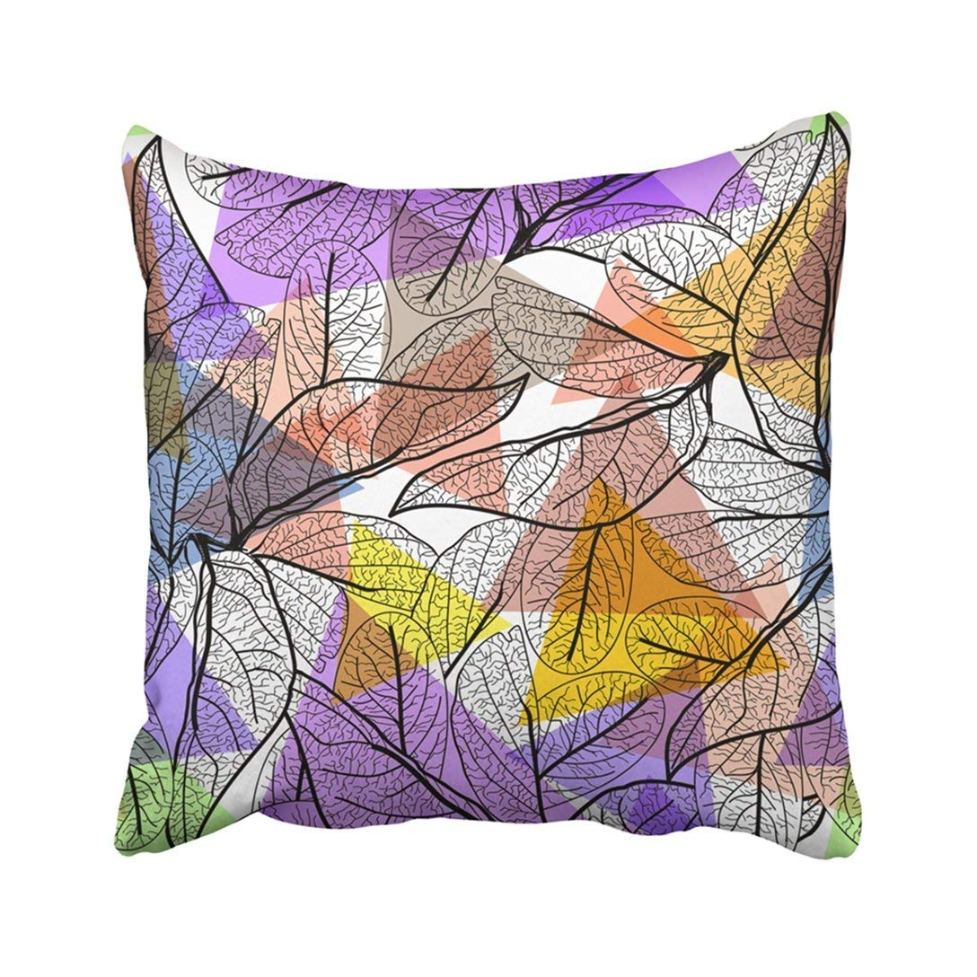 WOPOP Leaves Black Contours Bright Pink Orange Blue Lilac Modern Floral Geometric Abstract Pillowcase Throw Pillow Cover Case 20x20 inches