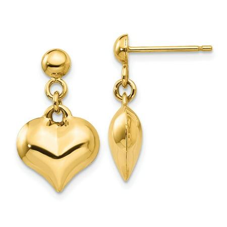 14k Polished Puffed Heart Dangle Post Earrings