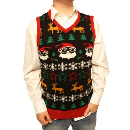 Ugly Sweater Vest (Ugly Christmas Sweater Men's Xmas Festive Holiday V-Neck Vest)