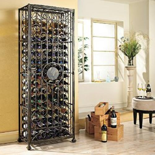 The Wine Enthusiast 6349601 96-bottle Antiqued Wine Jail Accs Protect Wine In Steel Scrollwork
