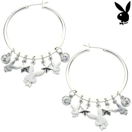 Playboy Earrings Hoops Bunny Charms Stars Swarovski Crystals Dangles Authentic - Playboy Bunny Accessories