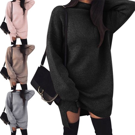 Cowlneck Pullover Sweater Dress, Women's Loose Turtleneck Long Sweater Baggy Tops, Pink