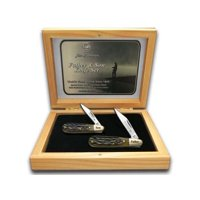 HEN & ROOSTER AND Father Son Set Jigged Antique Green Bone Barlow Stainless Pocket Knives