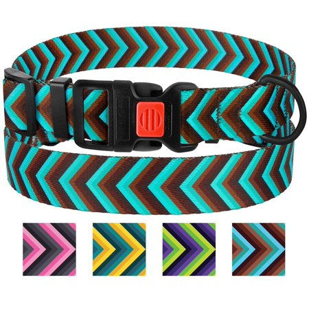 Nylon Dog Collar Adjustable Collars for Medium Dogs with Buckle, Blue/Brown