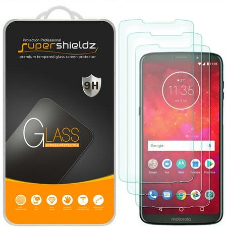 [3-Pack] Supershieldz for Motorola Moto Z3 Play/Moto Z3 Tempered Glass Screen Protector, Anti-Scratch, Anti-Fingerprint, Bubble