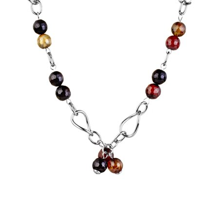 Stainless Steel Necklace With Amber Colored Natural Agate Stones