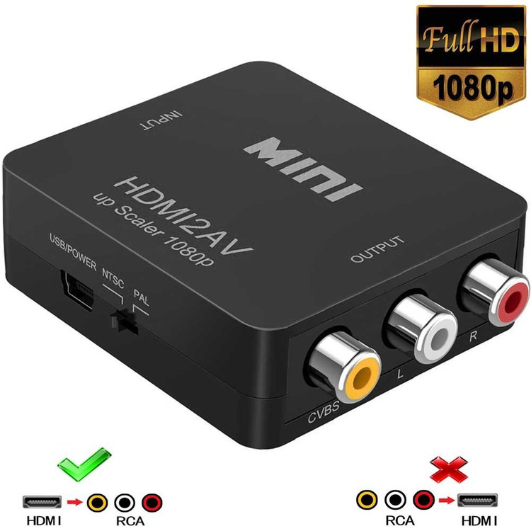 Black Mini 1080P HDMI to RCA Audio Video AV CVBS Adapter Converter For HDTV HDMI2AV Video Converter Adapter Box