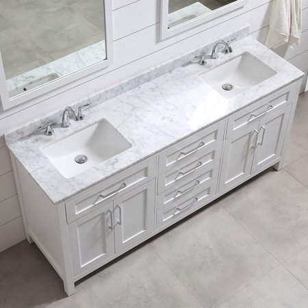 OVE Decors Tahoe 72 in. White Double Sink 2-Mirror ...