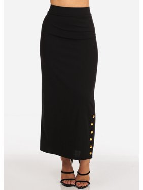 5e78a6e04 Product Image Womens Juniors Women's Junior Ladies High Rise Dressy Black  Maxi Skirt With Button Up Hem Slit