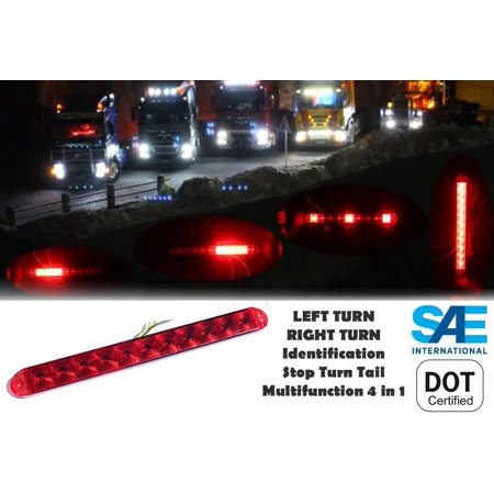 Jeep Side Marker (1 Multifunction Red LED Light Bar Waterproof Submersible as Brake Stop Turn ID Signal Clearance Side Marker for Trailer Truck RV JEEP Universal Fit )