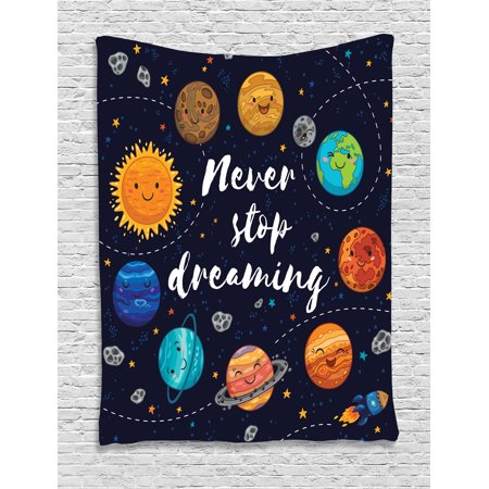 Quote Tapestry, Outer Space Planets and Star Cluster Solar System Moon and Comets Sun Cosmos Illustration, Wall Hanging for Bedroom Living Room Dorm Decor, Multi, by Ambesonne
