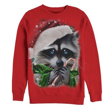 Women's Ugly Christmas Sweater Raccoon Candy Cane Sweatshirt