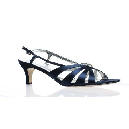 David Tate Womens Rosette (David Tate Womens Rosette Navy Satin Ankle Strap Heels Size 12)