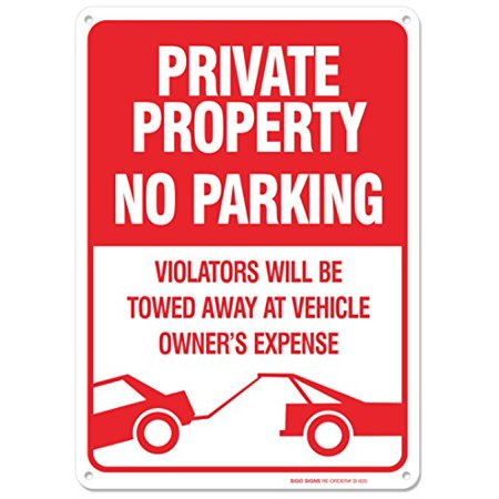 Towed Parking Sign - No Parking Sign - Violators Will Be Towed Away At Vehicle Owners Expense Legend Sign, Aluminum, 14