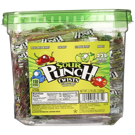6 PACKS : Sour Punch Twists Tub, 225 Individually Wrapped Twists, 4 Flavors: Blue Raspberry, Cherry, Strawberry, Apple, 2.78 lbs (1260g)