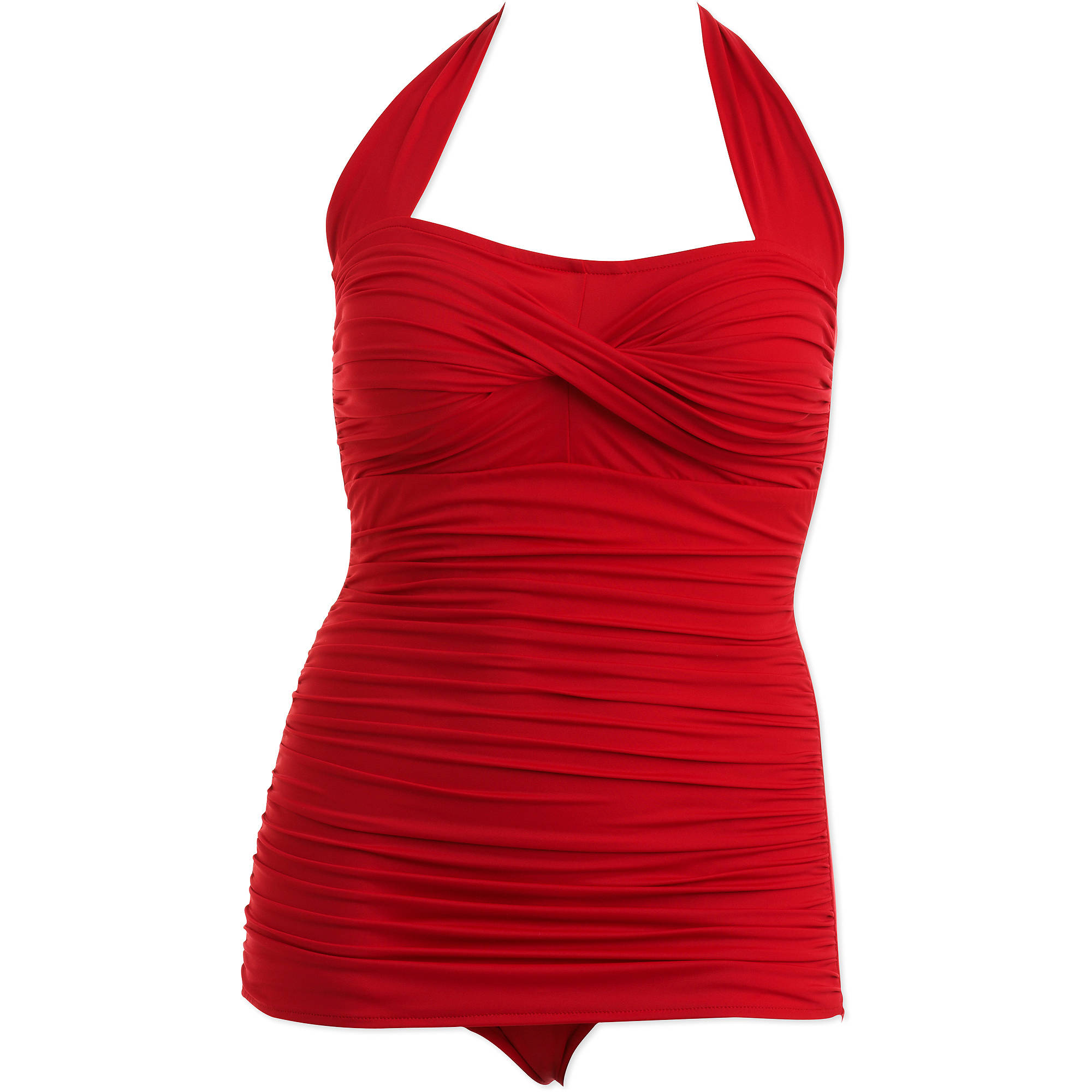 Suddenly Slim by Catalina Women's Plus-Size Slimming Shirred Halter One-Piece Swimsuit