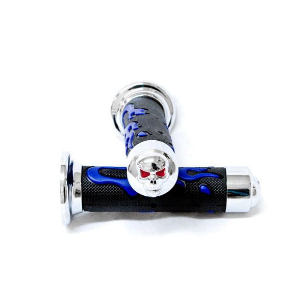 ATV / PWC Chrome Skull Hand Grips Blue Flame Grip For Yamaha Raptor - image 5 of 5