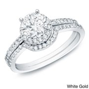 Auriya  1 carat TW Round Diamond Halo Engagement Ring Set 14k Gold