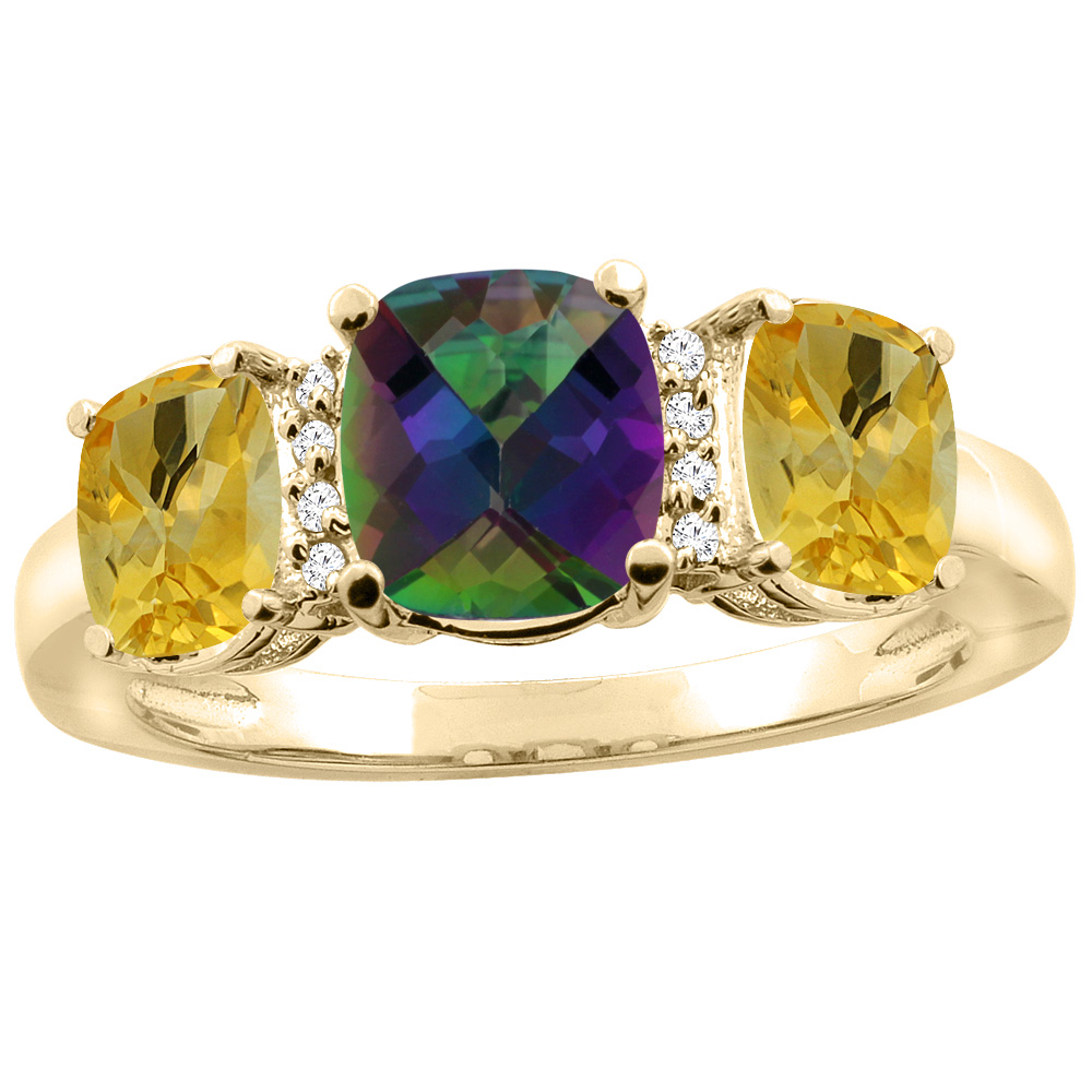 14K Yellow Gold Natural Mystic Topaz & Citrine 3-stone Ring Cushion 8x6mm Diamond Accent, sizes 5 10 by WorldJewels