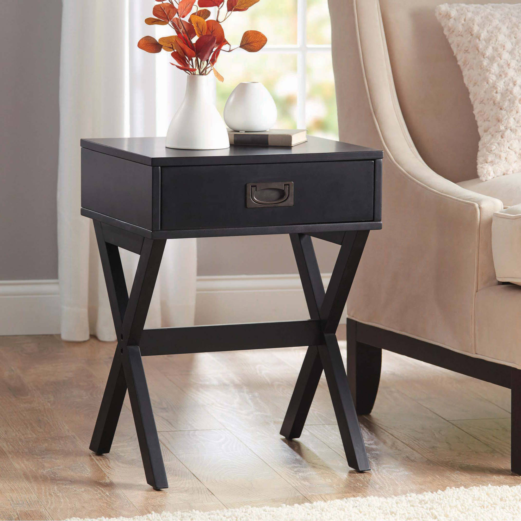 Better Homes and Gardens X-Leg Accent Table with Drawer, Multiple Colors