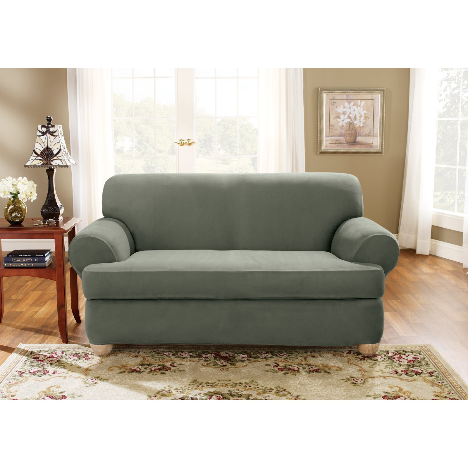 Sure Fit Stretch Suede 2-Piece T-cushion Sofa Slipcover