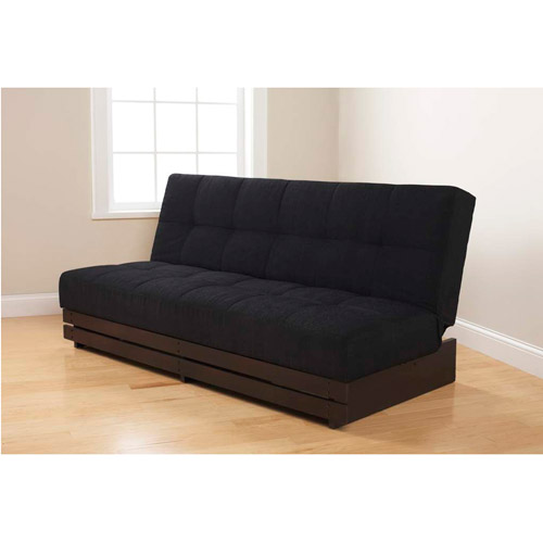 Mainstays Convertible Futon Sofa Bed, Black Microfiber with Wood Base