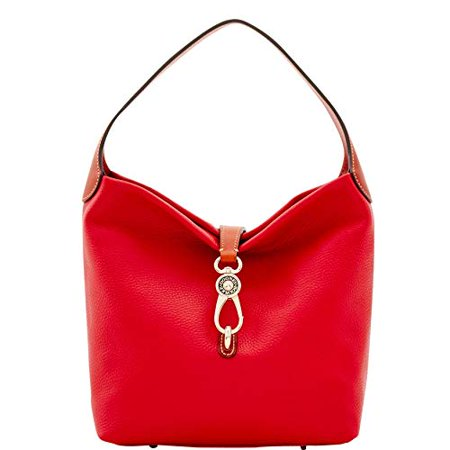 Dooney & Bourke Pebble Grain Small Logo Lock Shoulder Bag in Red Dooney & Bourke Denim