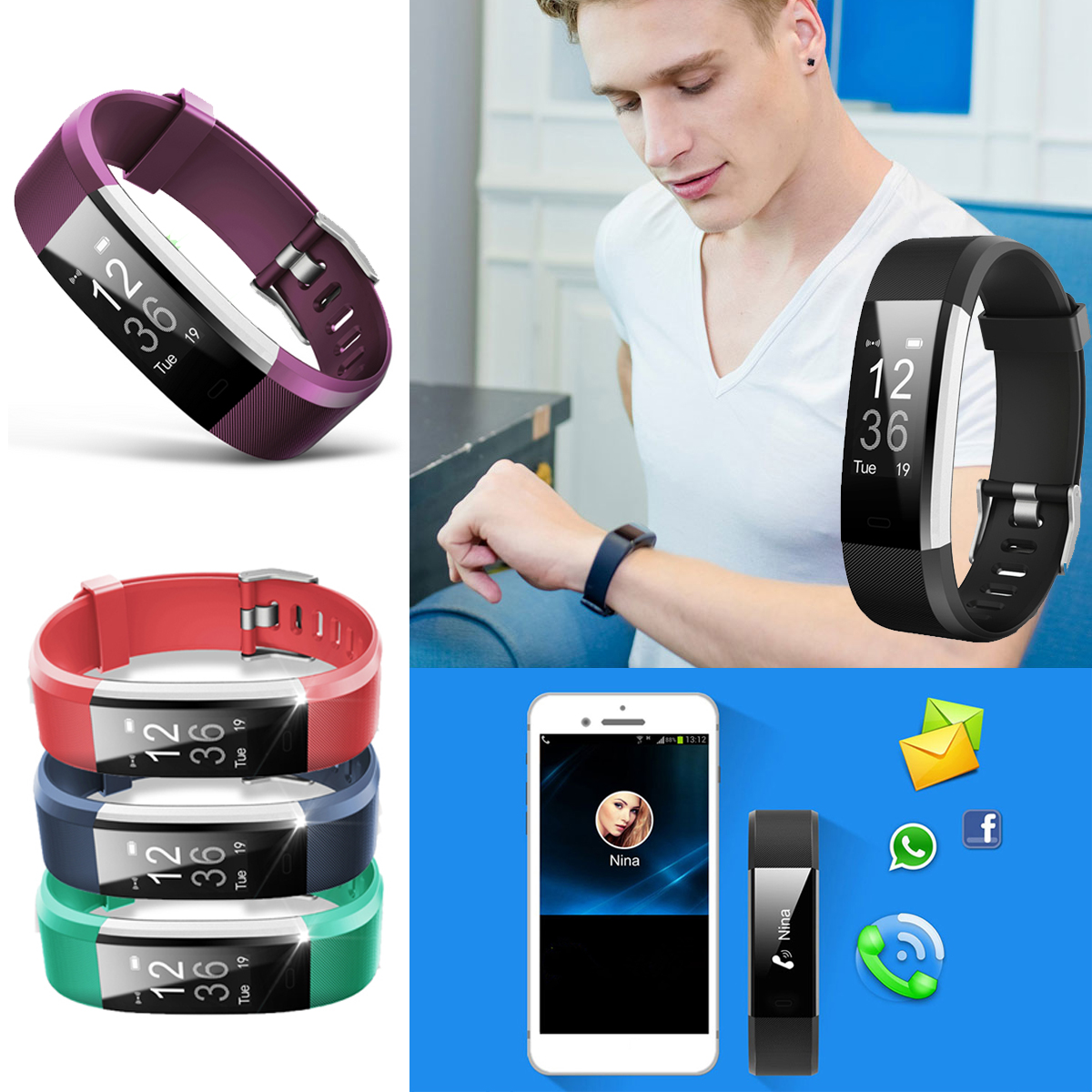 Smart Watch Heart Rate Monitor Blood Pressure Oxygen Fitness Tracker Sleep Monitor Waterproof Smart band Alarm Clock Camera Remote Control