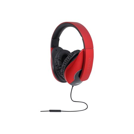 Oblanc Shell Lightweight and Comfortable Fit Audio Headphones with In-Line Microphone, Red/Black or Red/ White